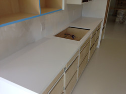 Large white vanity countertop