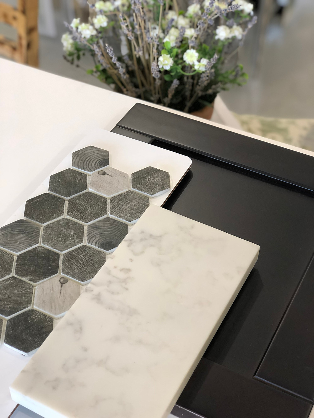 If you are looking  for dark trend style for you kitchen this is a very contemporary and modern colors  to be installed with Carrara Grigio Countertops. In the picture are a kitchen cabinet color dark chocolate and Back splash Woodland color Asbury Heath