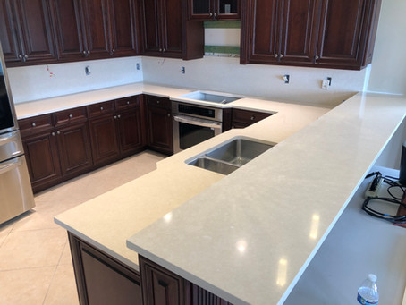 Creamy base Quartz Countertops installation | Cambria Fairbourne