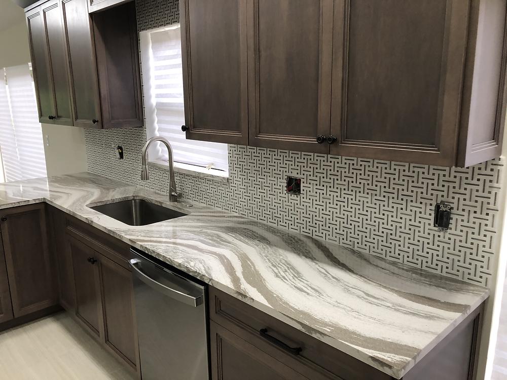 For Cambria Oakmoor countertops and Backsplash contact the experts Stone and Quartz LLC | Boca Raton FL