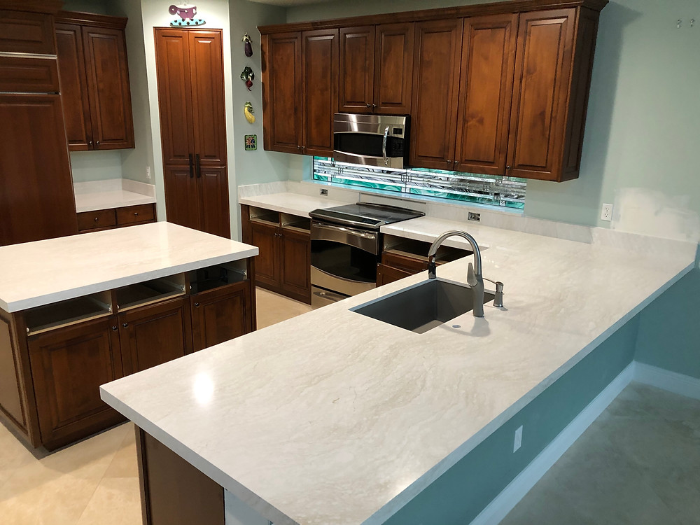 Cambria Ironsbridge quartz countertops installation, contact Stone and Quartz LLC located in Boca Raton FL.