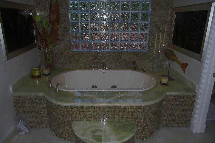 picture of green bath countertop