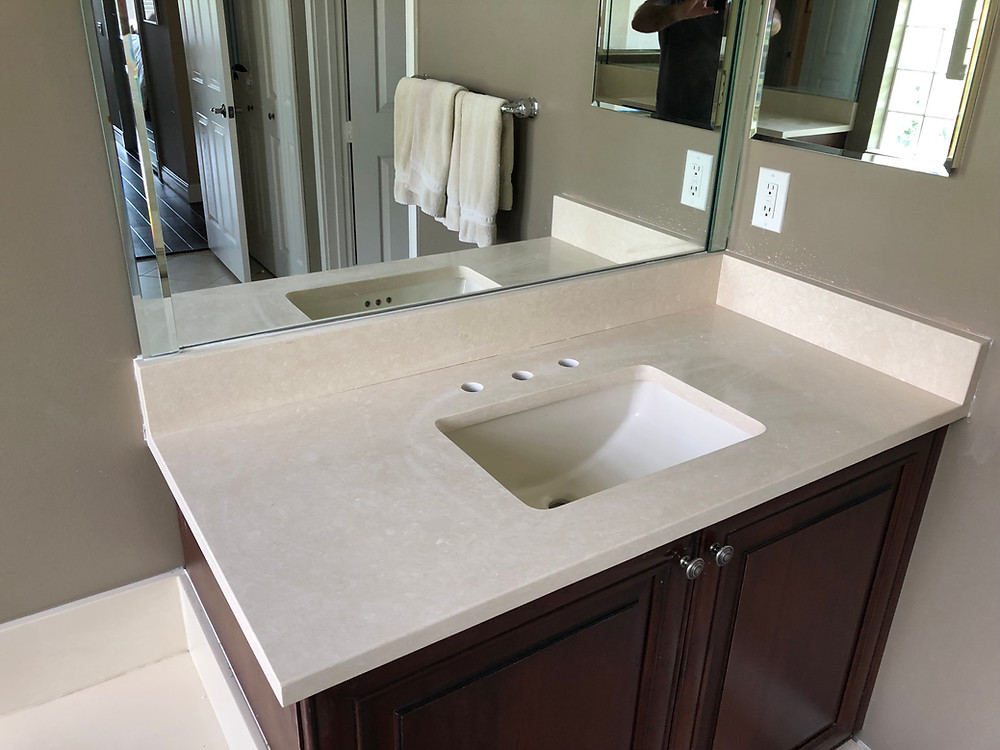 vanity tops installation near me Boca Raton FL. Contact Stone and Quartz LLC. Cream quartz countertops