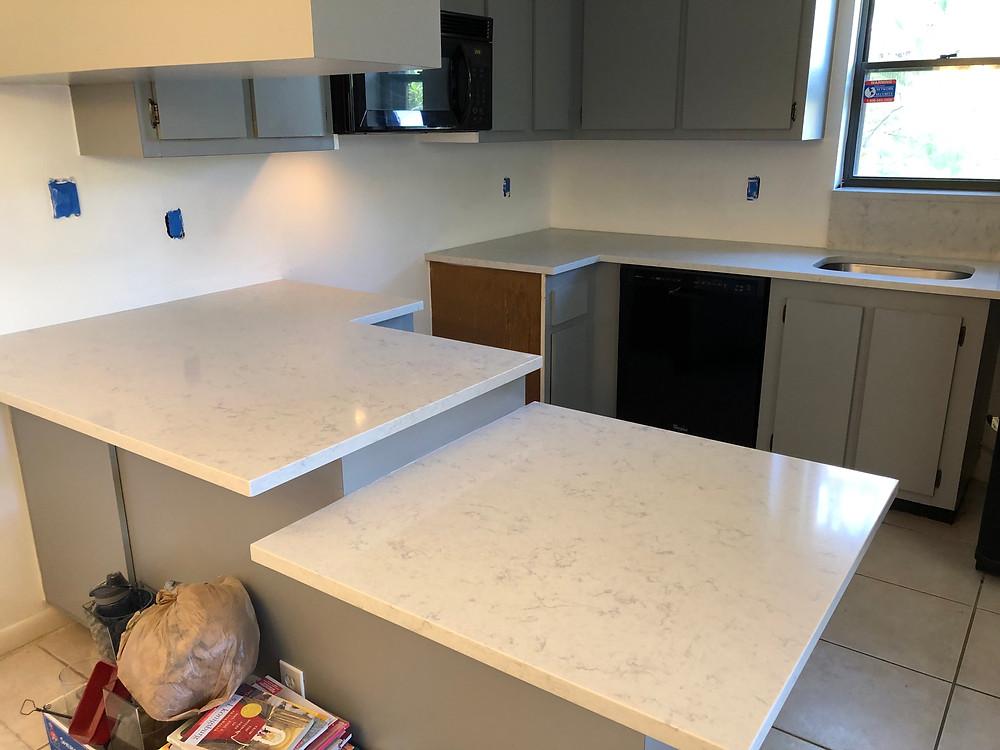 Mara Blanca Quartz Countertops in Boca Raton FL. Contact stone and Quartz LLC