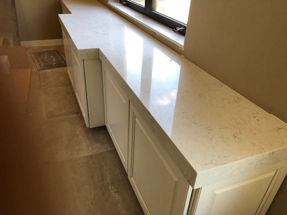 MSI Carrara Mist quartz countertops installed