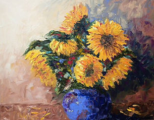 Sunflowers in Blue Bowl.jpg