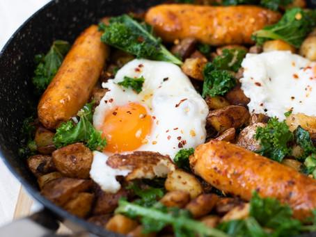 Sausage, Kale and Crispy Potato Hash With Eggs