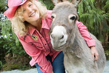 """Cyndi """"Soup"""" Elliott and donkey"""