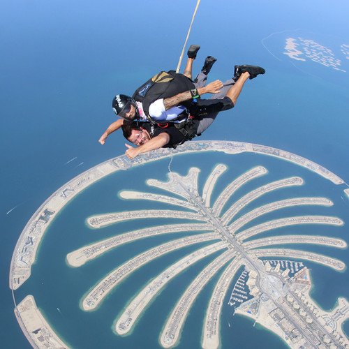 Dropping in over the Palm Island Dubai