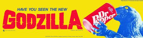 GODZILLA 1985 Dr. Pepper Promotional Bumper Sticker Reproduction