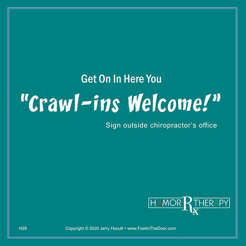 H26 Crawl-ins Welcome!