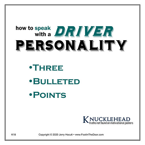 K18 Speaking with a Driver Personality