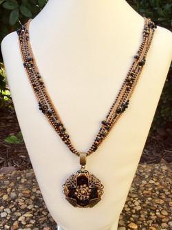 Rae Design Black & Gold Button Necklace