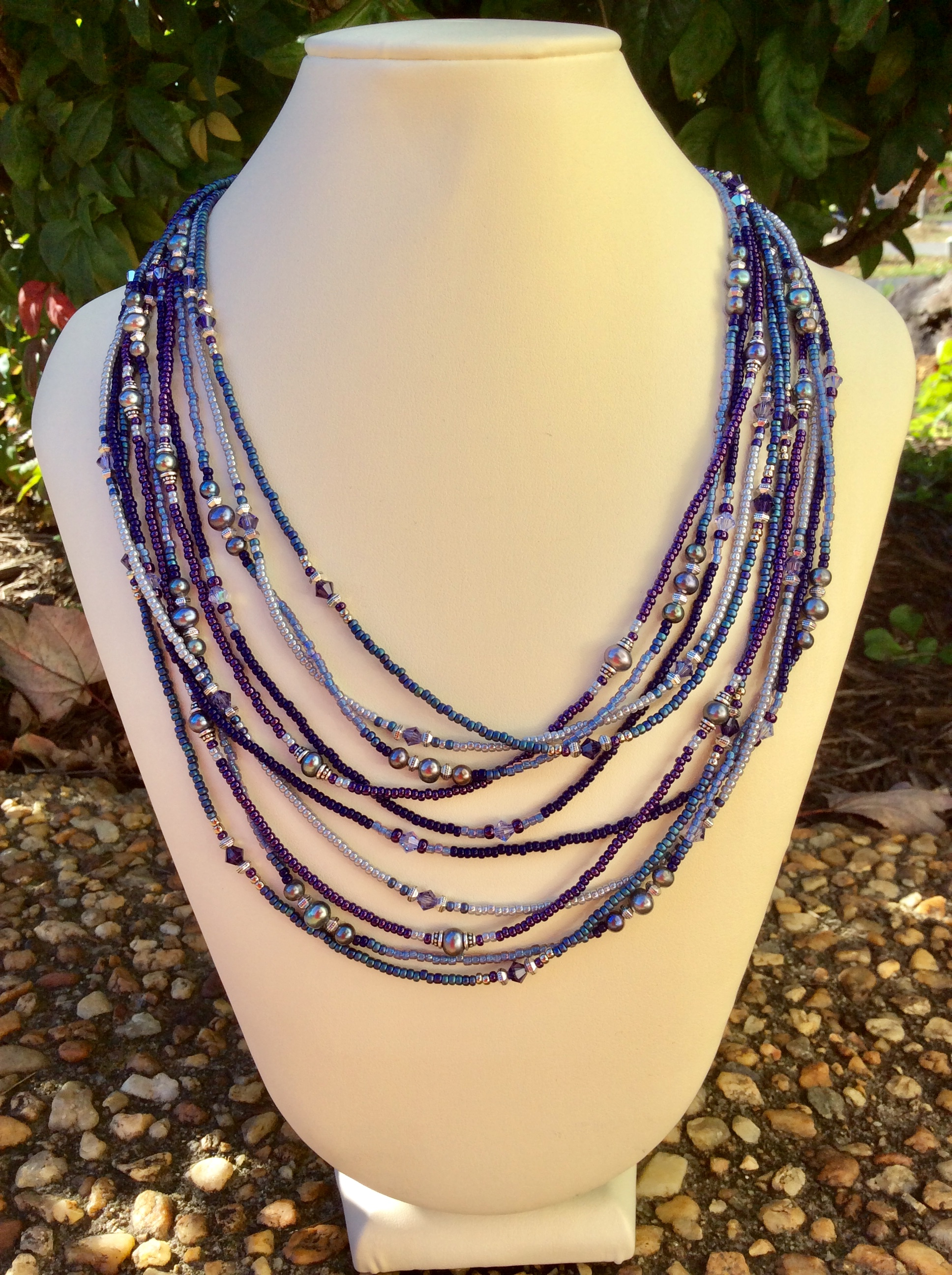 Rae Design Blue-Purples 5 Strand Necklace
