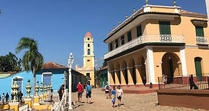 Trinidad tower, coblestone street