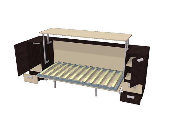 Стол-кровать-трансформер Венге/песочный