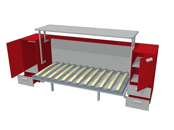 Стол-кровать-трансформер Красный/серый
