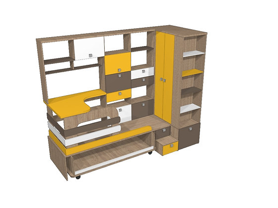 Кровать - подиум Желтый/Вяз/Коричневый