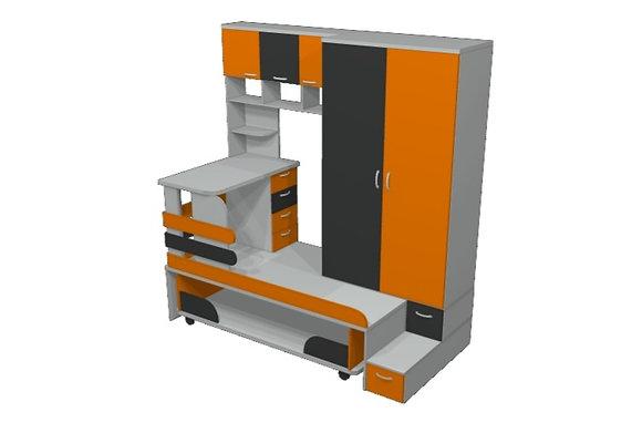Кровать - подиум Серый/Оранжевый/Антрацит