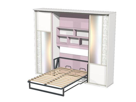 Шкаф-кровать-трансформер Лиловый/белый