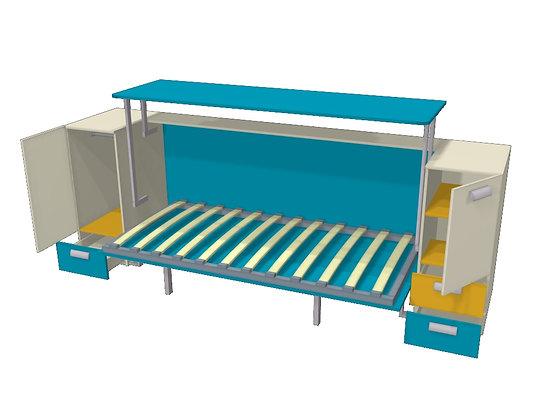 Стол-кровать-трансформер Синий/желтый