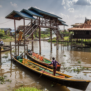 Boats at Nga Phe Kyaung Monastery / Jumping Cats Monastery