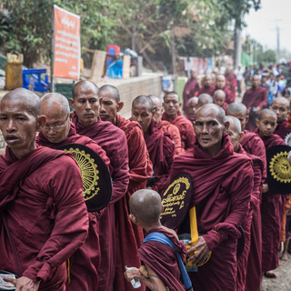 Early morning monks at Kyaiktiyo