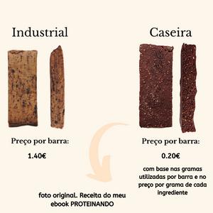 diferença de preço entre barras industriais e uma receita de barras proteicas caseiras