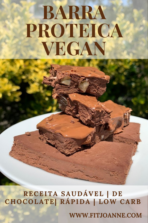 barra proteica vegana caseira de chocolate