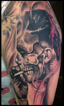 abstract smoking man tattoo