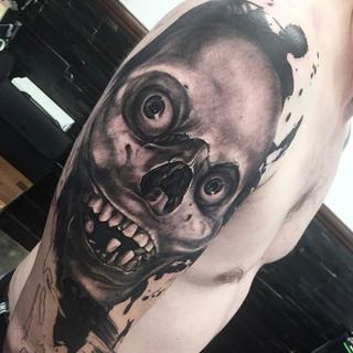 creapy skull tattoo , abstract