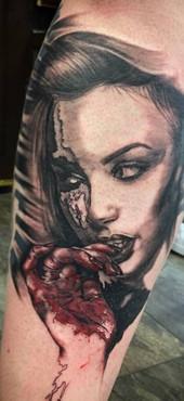 bloody woman tattoo