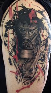 gas mask war abstract tattoo