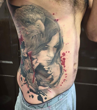 abstract woman and eagle tattoo