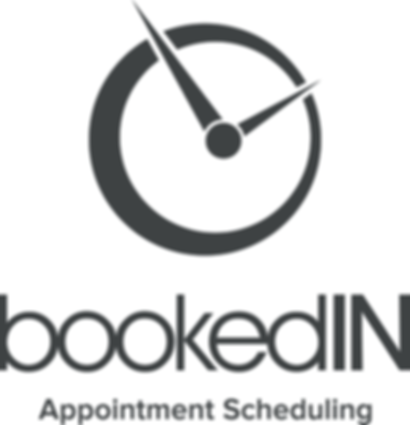 BookedIN Logo with Slogan - vertical - d