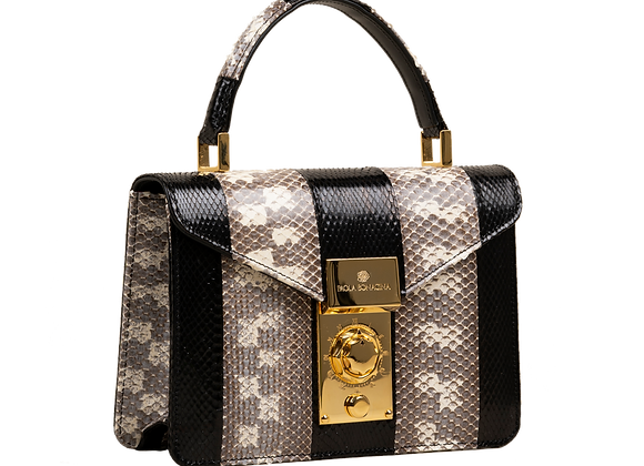 O-Clock Mini – Beige/Black Cylinder Snake Leather