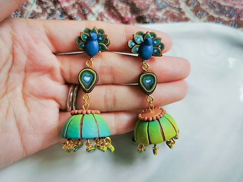 Peacock Jhumka 2 by RachelCrafts