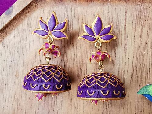 Purple Lotus Jhumka by RachelCrafts