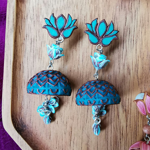 Blue Lotus Jhumka by RachelCrafts