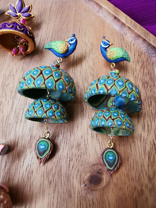 Peacock Jhumka by RachelCrafts
