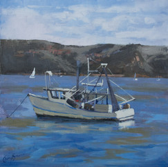 Patonga Boats, oil on canvas, 41 x41cm