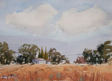 """Country Scene, watercolour, 16 x 20"""""""