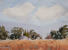 Country Scene, watercolour A3