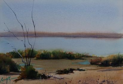 Congie Lakes, watercolour, 40.5 x 51cm