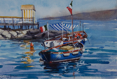 Sorrento Boats, watercolour 48 x 40