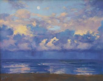 Dusk Moon Over the Ocean, oil, 75 x 65cm, sold