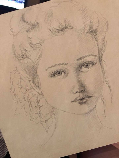 Vintage Girl - drawing on ply