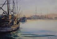 Fisherman's Wharf Sunset, watercolour A3