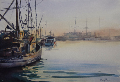 Fisherman's Wharf Sunset, watercolour A3, sold