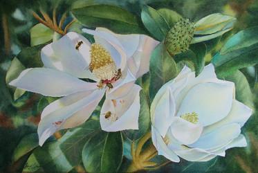 In the Shadows, Watercolour, 83 x 67cm